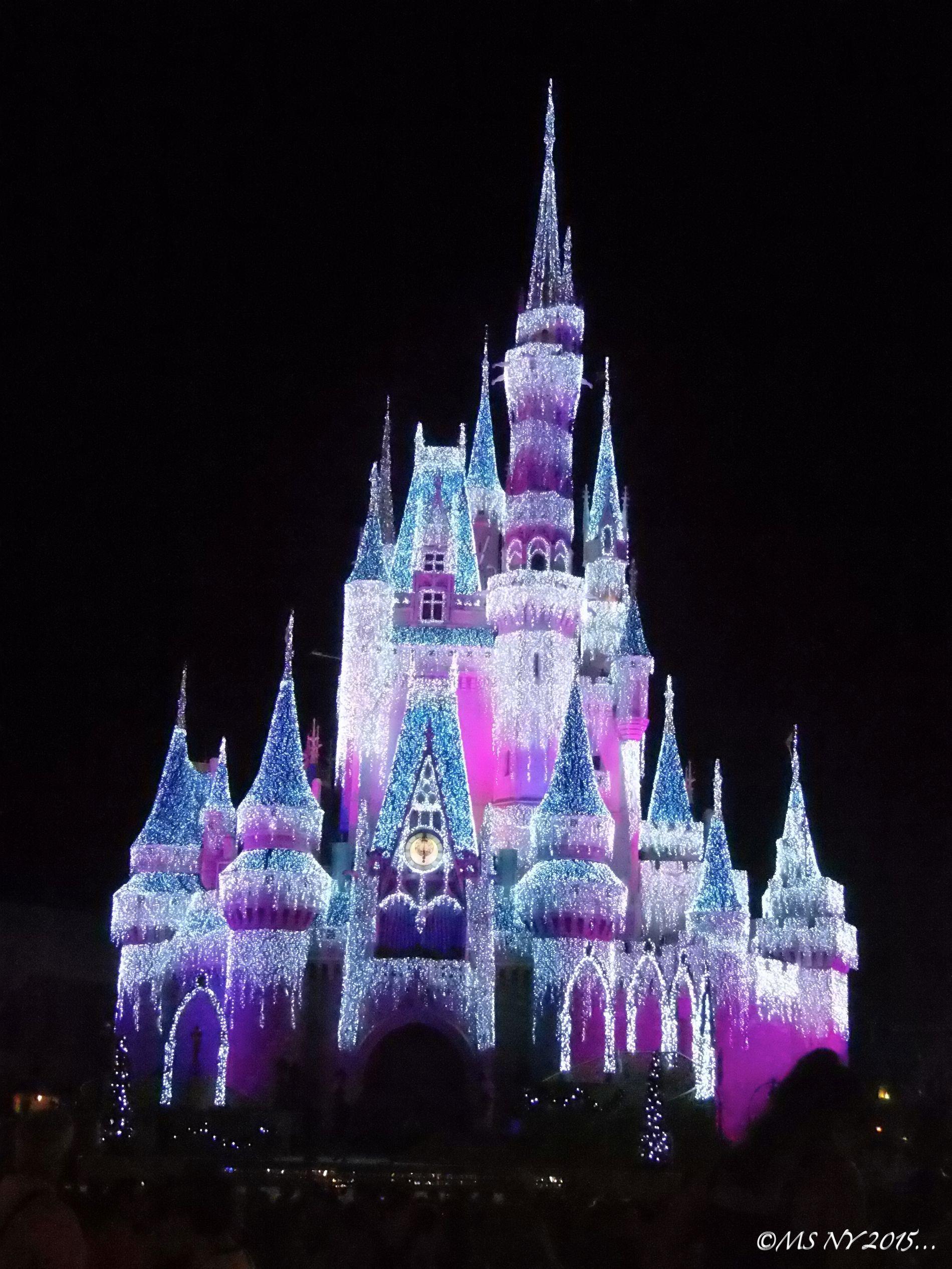 Cinderella Castle Christmas Lights.Cinderella S Castle Decorated With Christmas Lights 2015